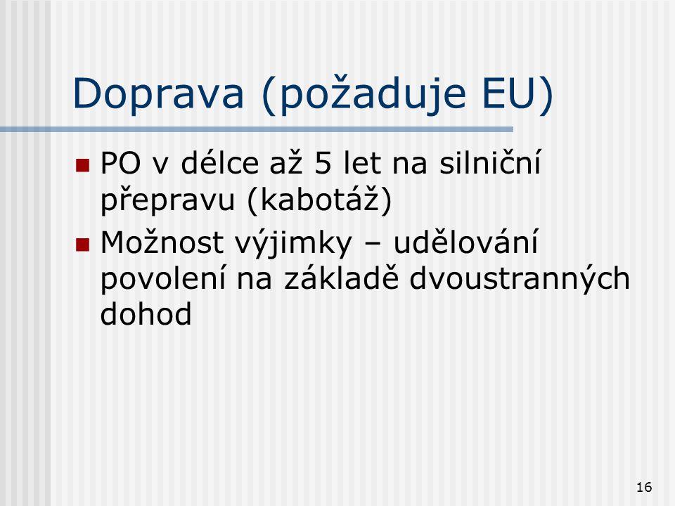 16 Doprava (požaduje EU) PO v délce až 5 let na silniční přepravu (kabotáž) Možnost výjimky – udělování povolení na základě dvoustranných dohod
