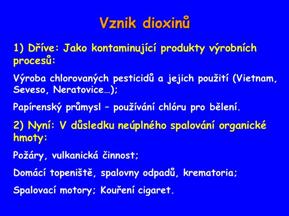 Vznik dioxinů 1) Dříve: Jako kontaminující produkty výrobních procesů: Výroba chlorovaných pesticidů a jejich použití (Vietnam, Seveso, Neratovice…); Papírenský průmysl – používání chlóru pro bělení.