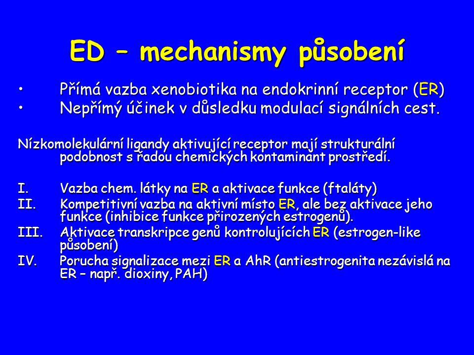 ED – mechanismy působení Přímá vazba xenobiotika na endokrinní receptor (ER)Přímá vazba xenobiotika na endokrinní receptor (ER) Nepřímý účinek v důsledku modulací signálních cest.Nepřímý účinek v důsledku modulací signálních cest.