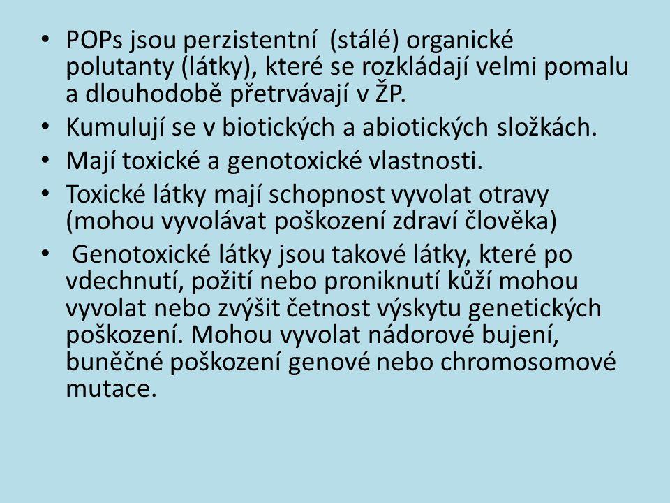 POPs jsou perzistentní (stálé) organické polutanty (látky), které se rozkládají velmi pomalu a dlouhodobě přetrvávají v ŽP. Kumulují se v biotických a
