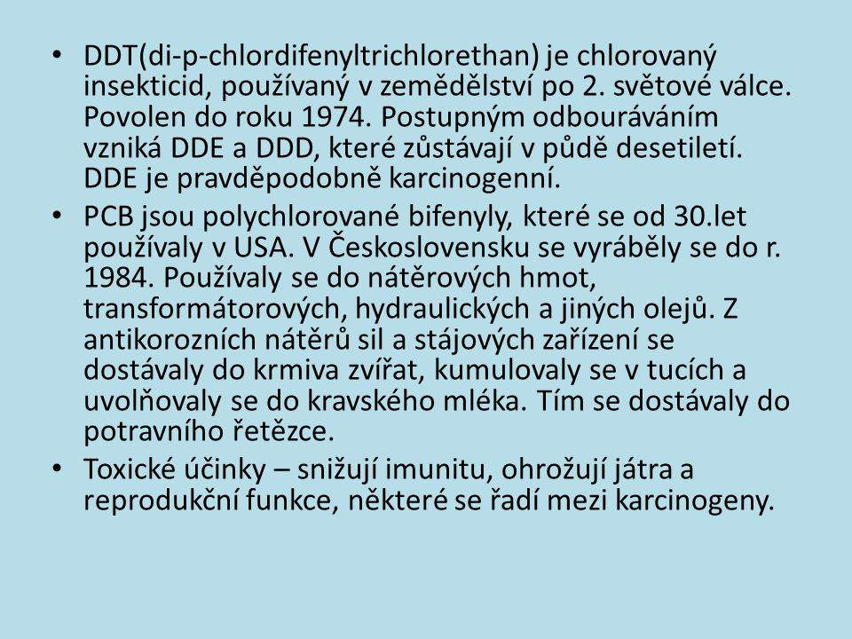 DDT(di-p-chlordifenyltrichlorethan) je chlorovaný insekticid, používaný v zemědělství po 2. světové válce. Povolen do roku 1974. Postupným odbourávání