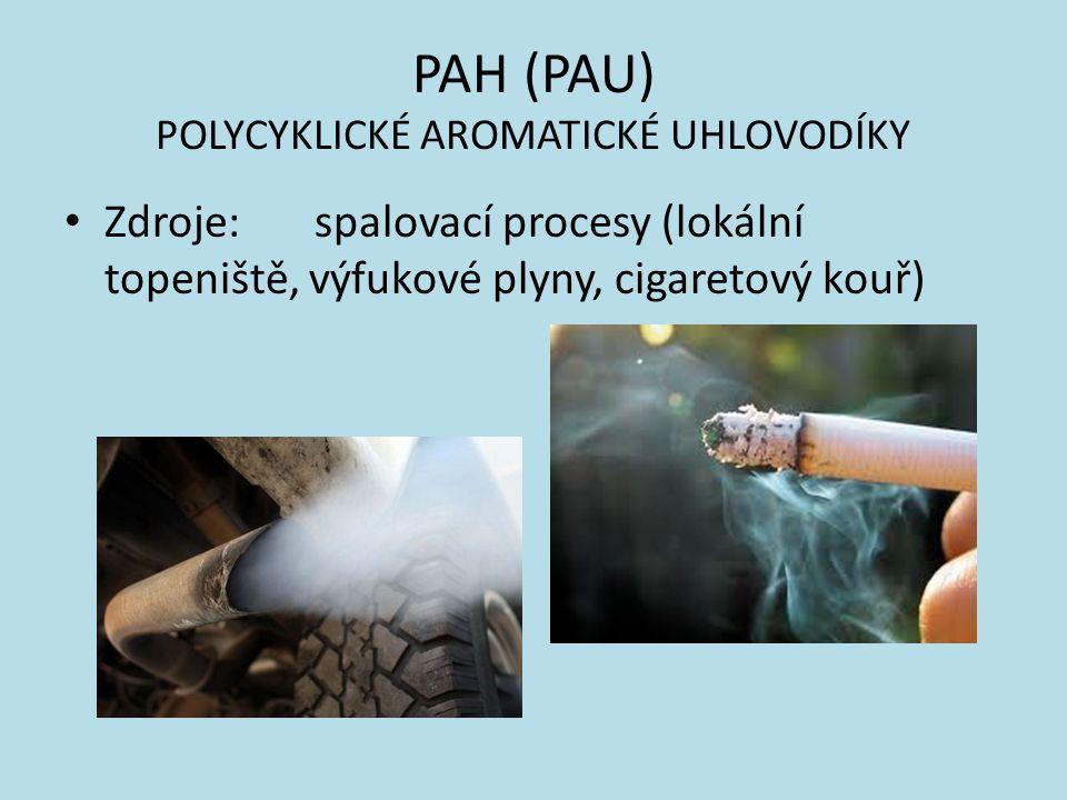 PAH (PAU) POLYCYKLICKÉ AROMATICKÉ UHLOVODÍKY Potravní zdroje: udící kouř, grilování a opékaní na otevřeném ohni, kontaminace spadem (obiloviny)