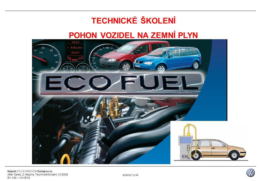 Import VOLKSWAGEN Group s.r.o. After Sales, Z.Hazdra, Technické školení, 01/2006 EX 106 – VW EOS strana 1 z 44 TECHNICKÉ ŠKOLENÍ POHON VOZIDEL NA ZEMN