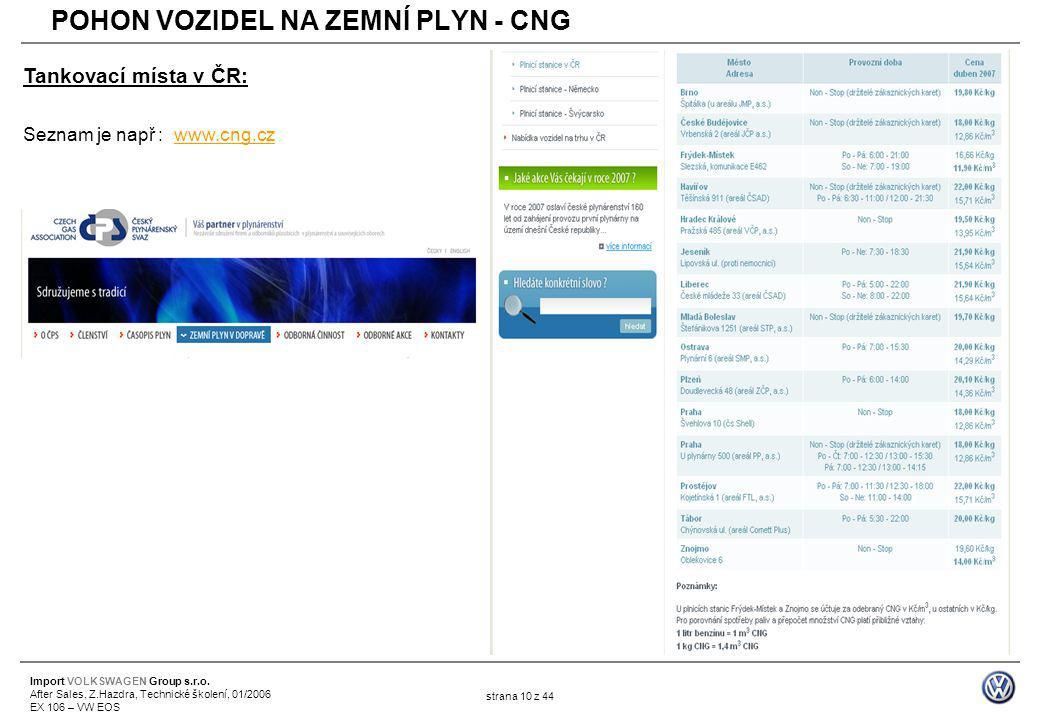 Import VOLKSWAGEN Group s.r.o. After Sales, Z.Hazdra, Technické školení, 01/2006 EX 106 – VW EOS strana 10 z 44 Tankovací místa v ČR: Seznam je např :