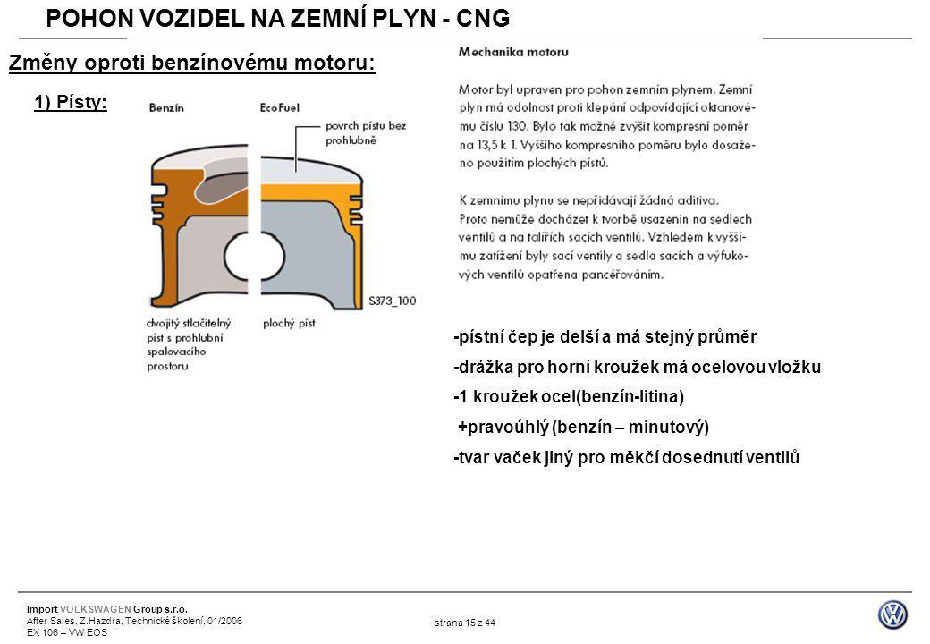 Import VOLKSWAGEN Group s.r.o. After Sales, Z.Hazdra, Technické školení, 01/2006 EX 106 – VW EOS strana 15 z 44 Změny oproti benzínovému motoru: 1) Pí