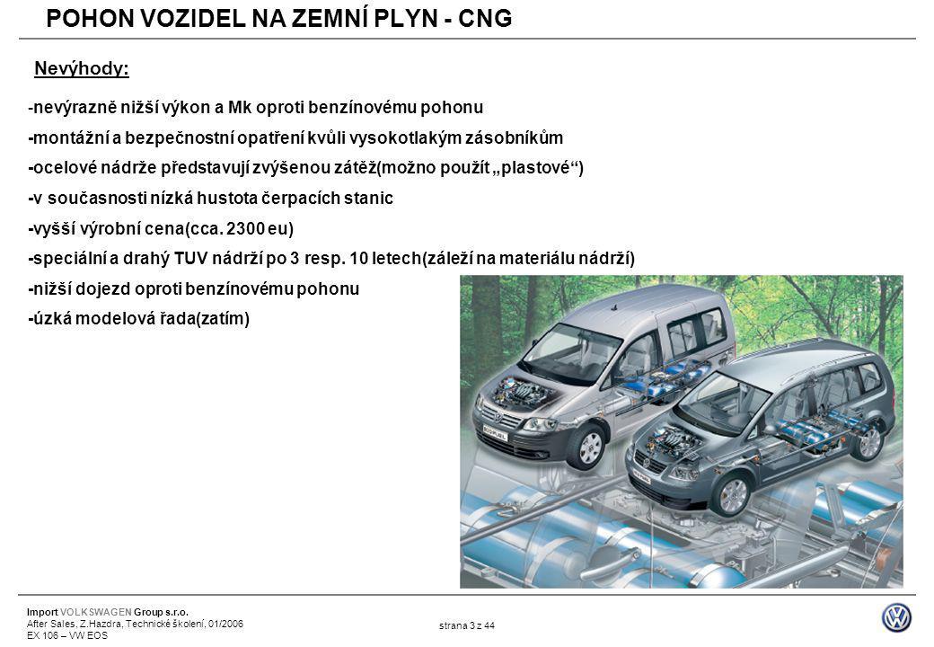 Import VOLKSWAGEN Group s.r.o. After Sales, Z.Hazdra, Technické školení, 01/2006 EX 106 – VW EOS strana 3 z 44 -nevýrazně nižší výkon a Mk oproti benz