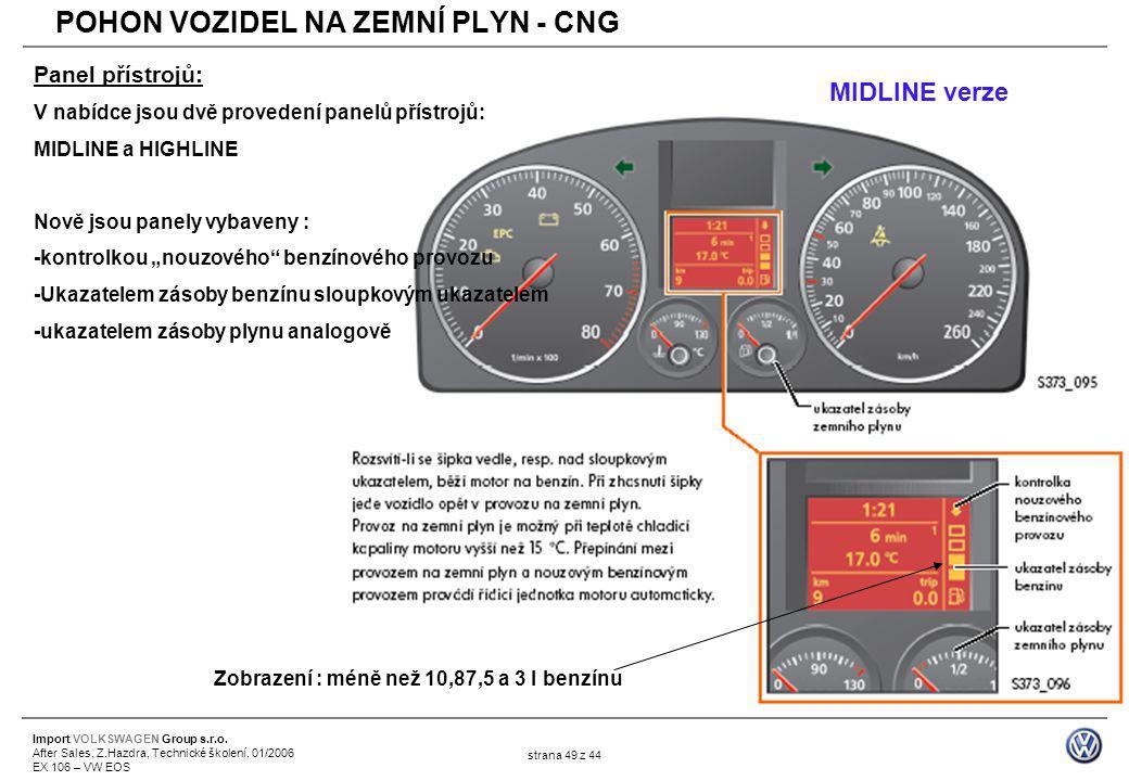 Import VOLKSWAGEN Group s.r.o. After Sales, Z.Hazdra, Technické školení, 01/2006 EX 106 – VW EOS strana 49 z 44 Panel přístrojů: V nabídce jsou dvě pr
