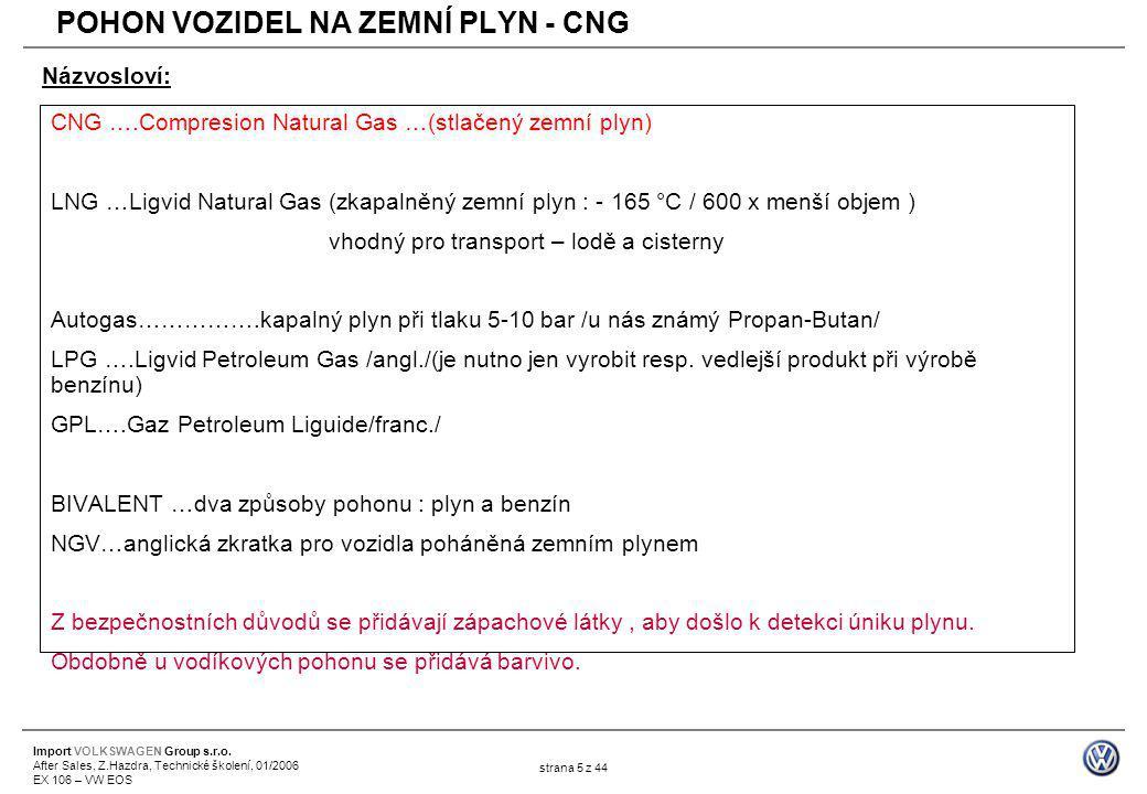 Import VOLKSWAGEN Group s.r.o. After Sales, Z.Hazdra, Technické školení, 01/2006 EX 106 – VW EOS strana 5 z 44 CNG ….Compresion Natural Gas …(stlačený