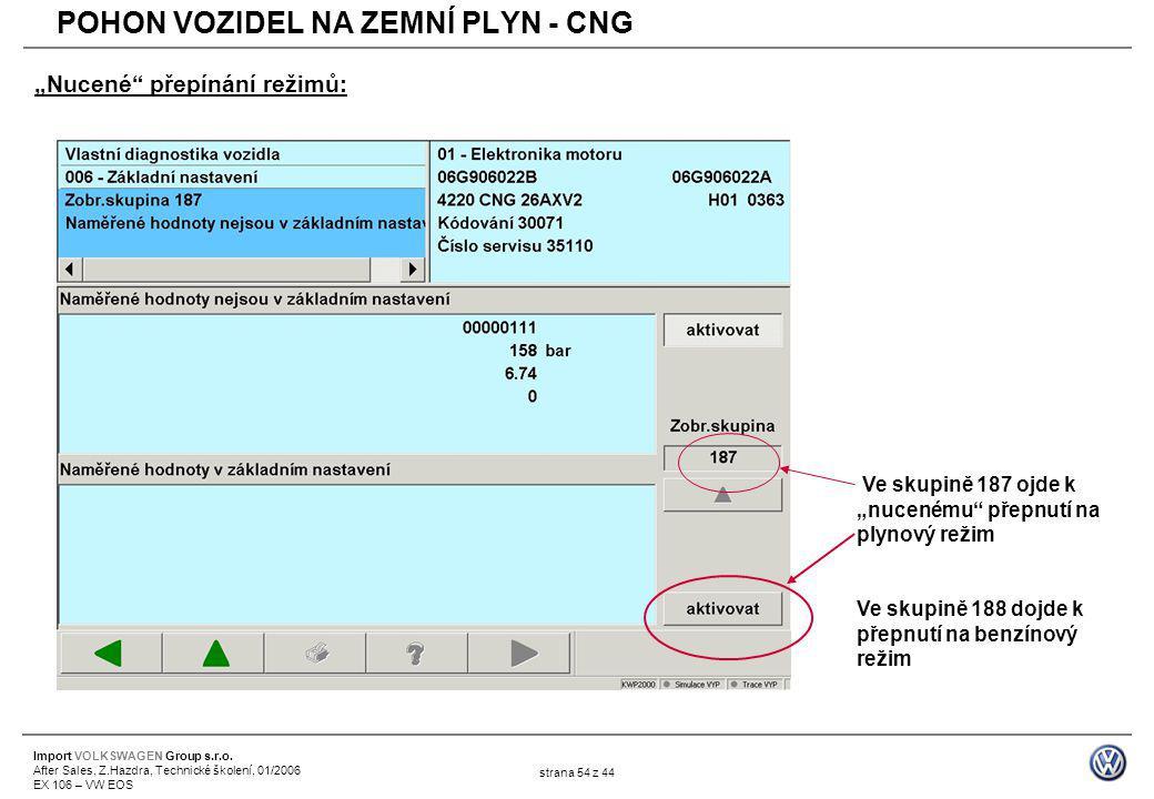 """Import VOLKSWAGEN Group s.r.o. After Sales, Z.Hazdra, Technické školení, 01/2006 EX 106 – VW EOS strana 54 z 44 """"Nucené"""" přepínání režimů: Ve skupině"""