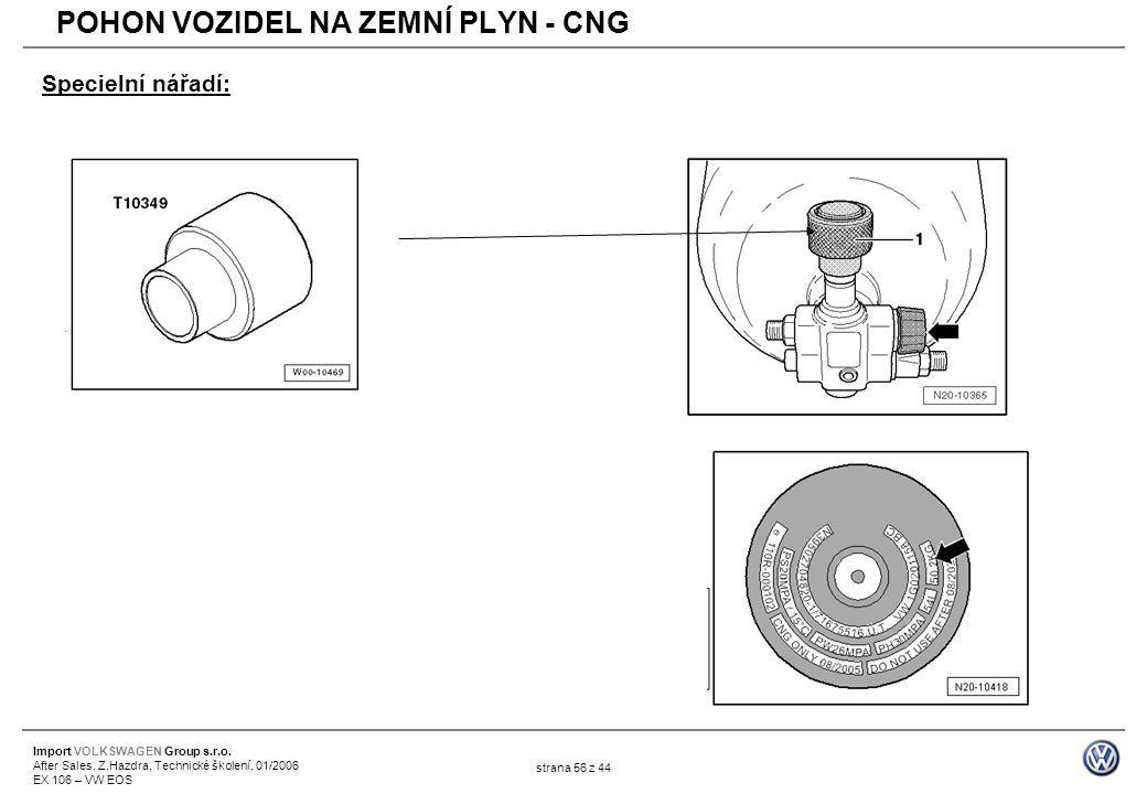 Import VOLKSWAGEN Group s.r.o. After Sales, Z.Hazdra, Technické školení, 01/2006 EX 106 – VW EOS strana 56 z 44 Specielní nářadí: POHON VOZIDEL NA ZEM