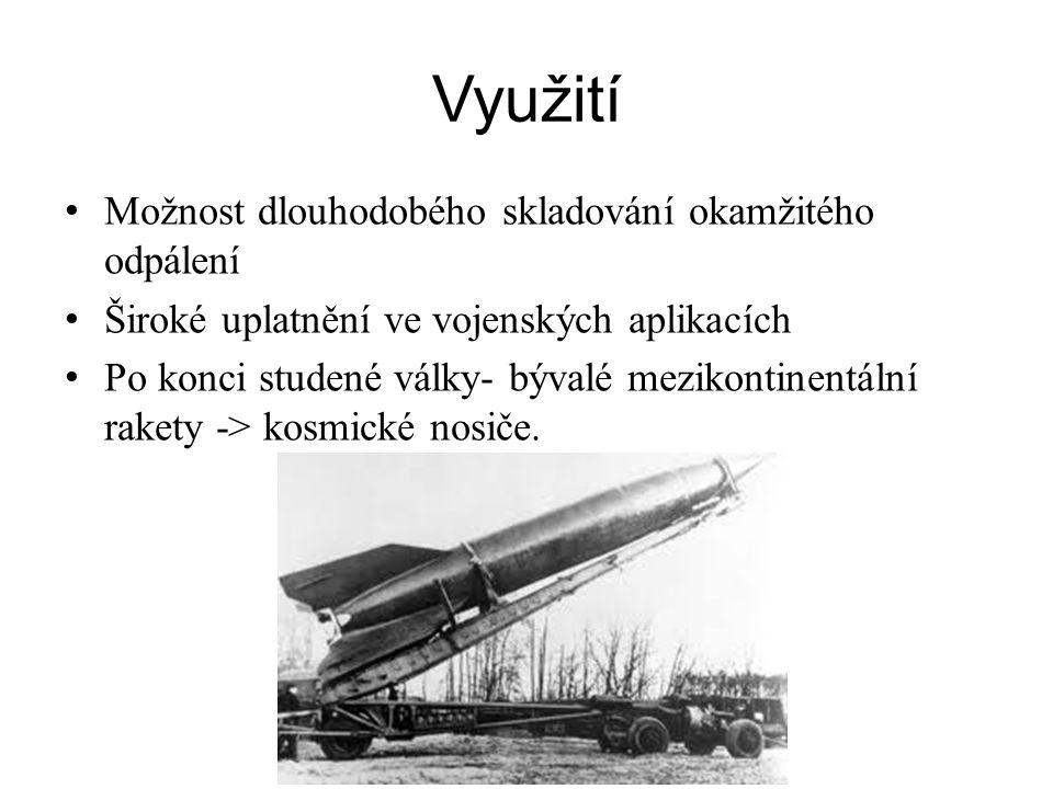 Využití Možnost dlouhodobého skladování okamžitého odpálení Široké uplatnění ve vojenských aplikacích Po konci studené války- bývalé mezikontinentální rakety -> kosmické nosiče.