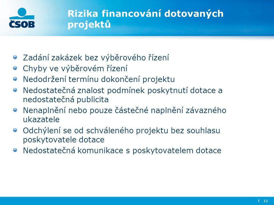 Rizika financování dotovaných projektů Zadání zakázek bez výběrového řízení Chyby ve výběrovém řízení Nedodržení termínu dokončení projektu Nedostateč