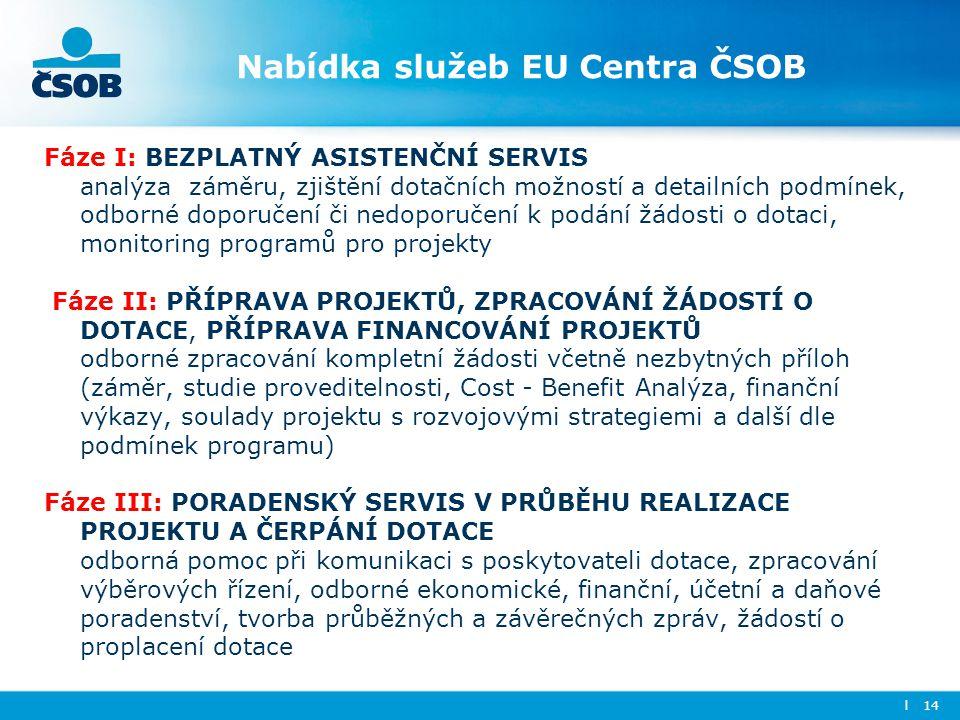 Nabídka služeb EU Centra ČSOB Fáze I: BEZPLATNÝ ASISTENČNÍ SERVIS analýza záměru, zjištění dotačních možností a detailních podmínek, odborné doporučen