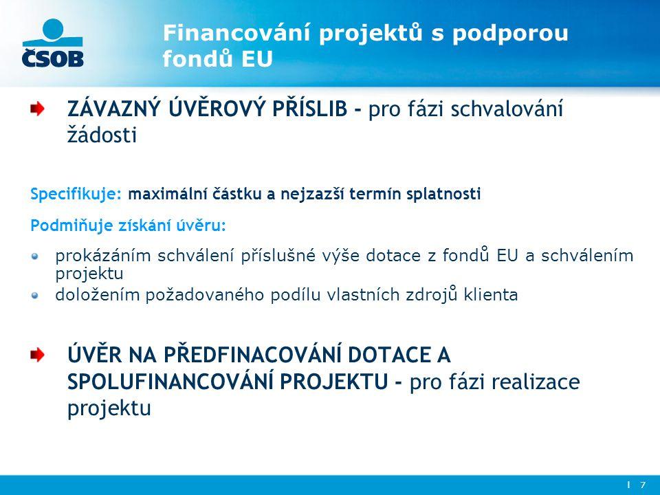 Financování projektů s podporou fondů EU ZÁVAZNÝ ÚVĚROVÝ PŘÍSLIB - pro fázi schvalování žádosti Specifikuje: maximální částku a nejzazší termín splatn
