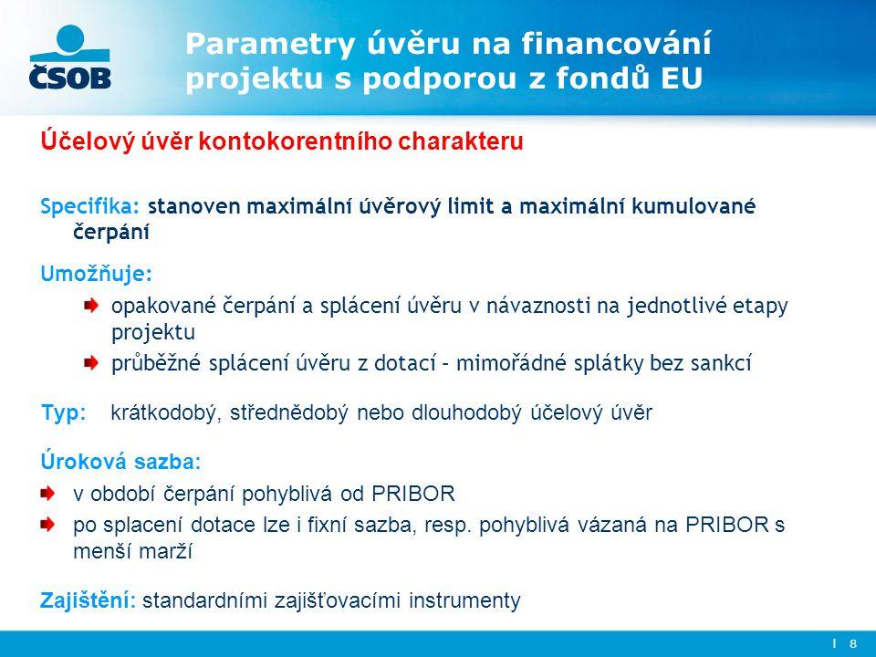Parametry úvěru na financování projektu s podporou z fondů EU Účelový úvěr kontokorentního charakteru Specifika: stanoven maximální úvěrový limit a ma