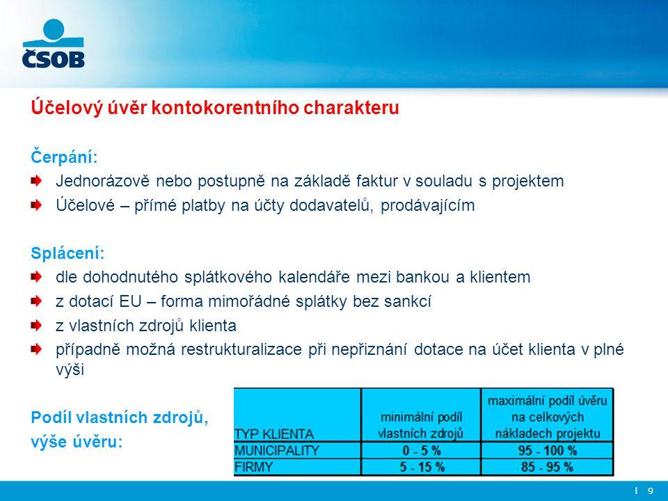 Účelový úvěr kontokorentního charakteru Čerpání: Jednorázově nebo postupně na základě faktur v souladu s projektem Účelové – přímé platby na účty doda