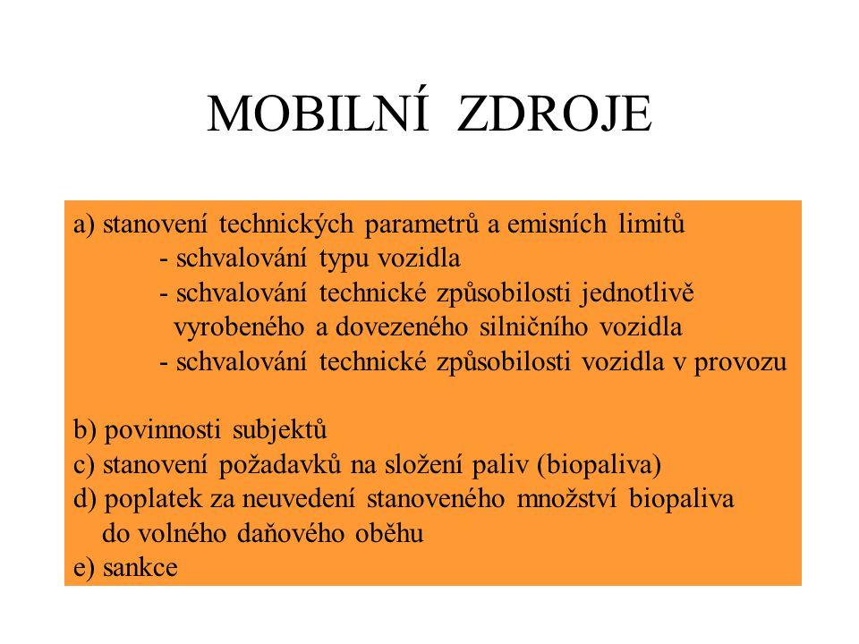 MOBILNÍ ZDROJE a) stanovení technických parametrů a emisních limitů - schvalování typu vozidla - schvalování technické způsobilosti jednotlivě vyrobeného a dovezeného silničního vozidla - schvalování technické způsobilosti vozidla v provozu b) povinnosti subjektů c) stanovení požadavků na složení paliv (biopaliva) d) poplatek za neuvedení stanoveného množství biopaliva do volného daňového oběhu e) sankce