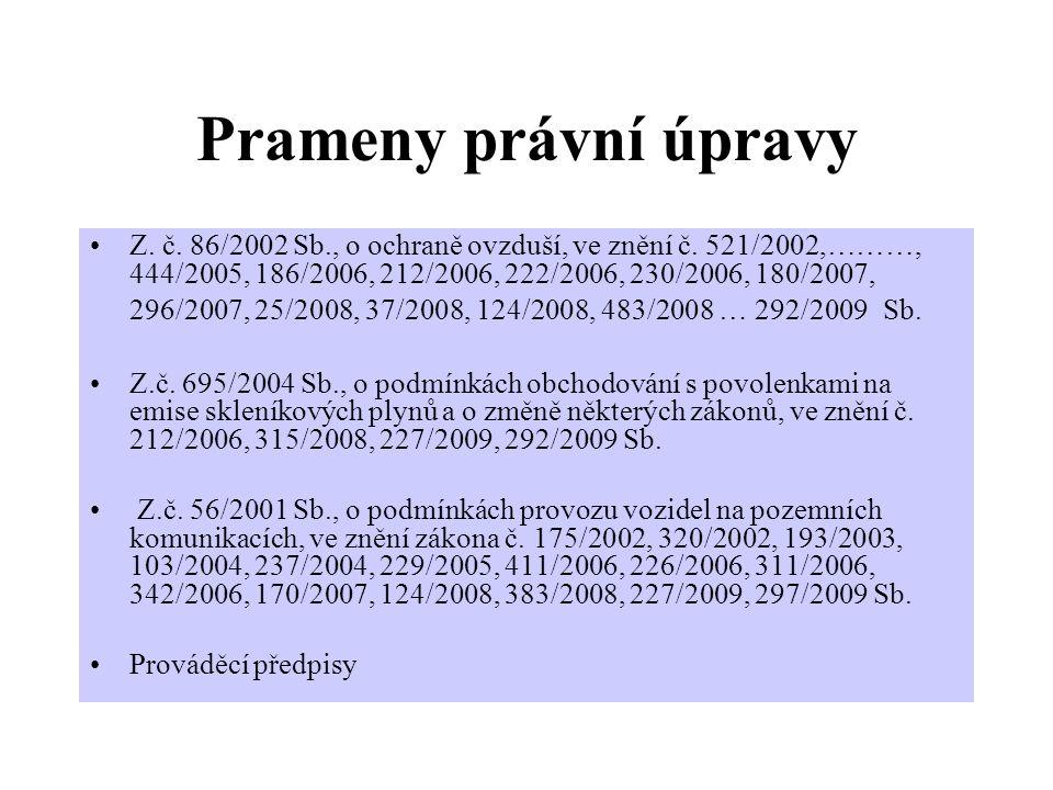 Prameny právní úpravy Z.č. 86/2002 Sb., o ochraně ovzduší, ve znění č.