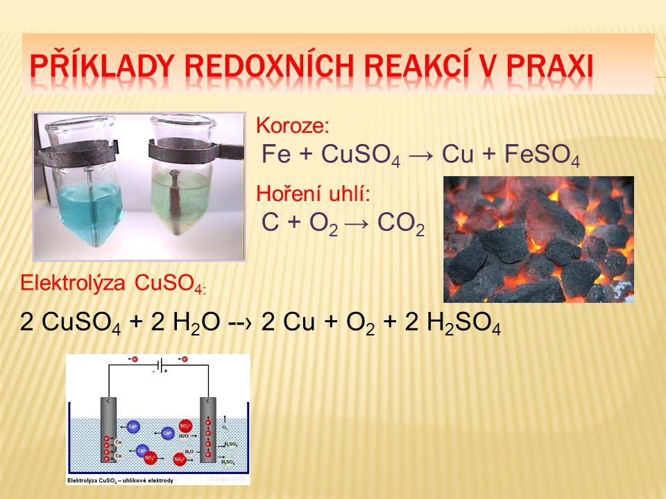 Fe + CuSO 4 → Cu + FeSO 4 Koroze: C + O 2 → CO 2 Hoření uhlí: Elektrolýza CuSO 4: 2 CuSO 4 + 2 H 2 O --› 2 Cu + O 2 + 2 H 2 SO 4