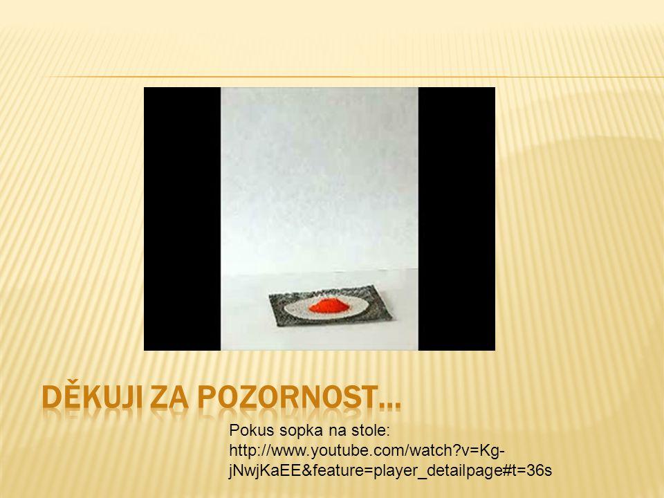 Pokus sopka na stole: http://www.youtube.com/watch?v=Kg- jNwjKaEE&feature=player_detailpage#t=36s