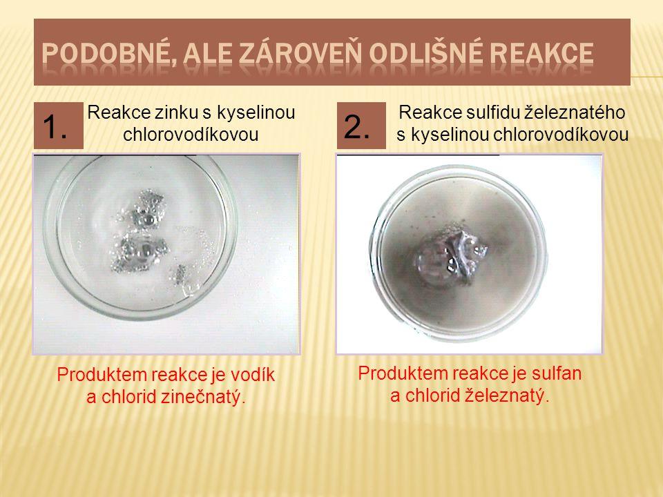 Reakce zinku s kyselinou chlorovodíkovou Reakce sulfidu železnatého s kyselinou chlorovodíkovou Produktem reakce je vodík a chlorid zinečnatý. Produkt