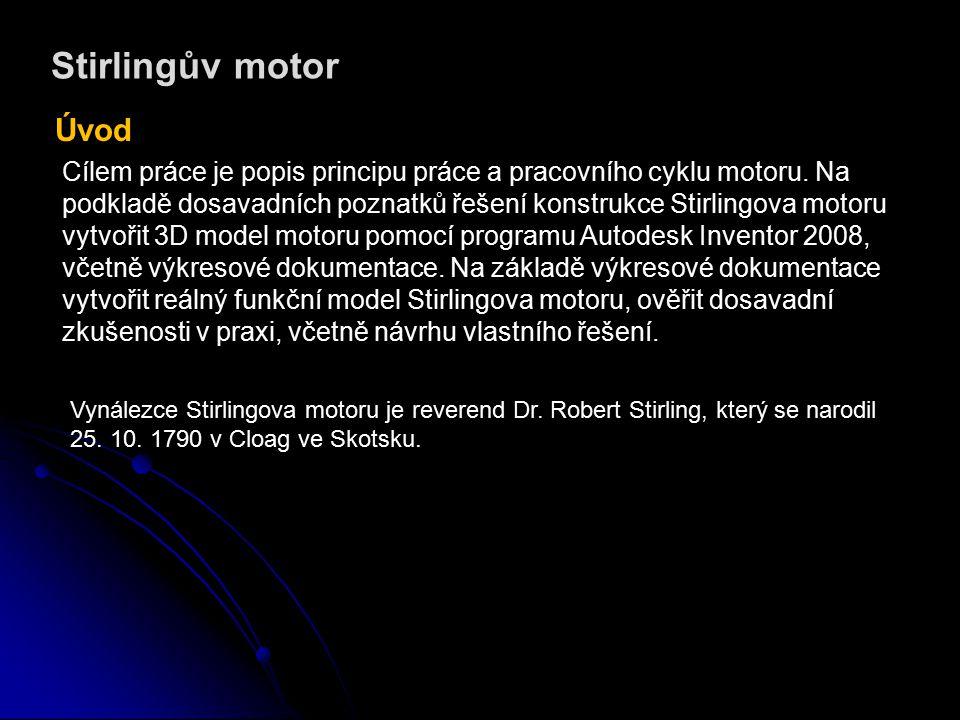 Stirlingův motor Princip funkce Stirlingova motoru ohřev přeháněč vzduch píst chlazení pracovní válec setrvačník klika chlazení pracovní válec potrubí Stirlingův motor je pístový spalovací motor s vnějším spalováním.