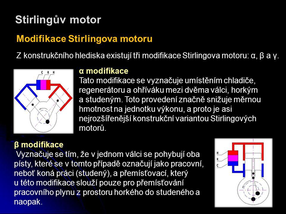Stirlingův motor Modifikace Stirlingova motoru γ modifikace Tyto motory mají také dva písty, přemísťovací a pracovní, ale každý z nich se pohybuje ve vlastním válci.
