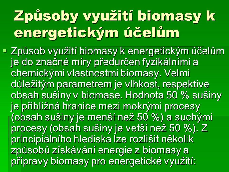 Způsoby využití biomasy k energetickým účelům  Způsob využití biomasy k energetickým účelům je do značné míry předurčen fyzikálními a chemickými vlas