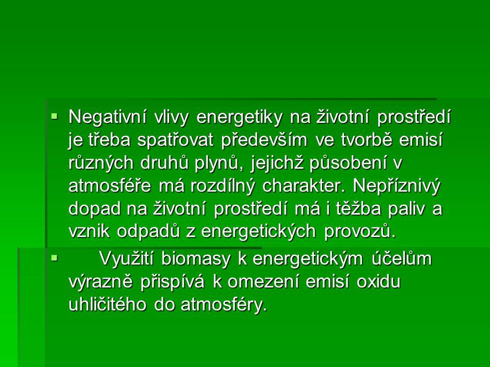  Negativní vlivy energetiky na životní prostředí je třeba spatřovat především ve tvorbě emisí různých druhů plynů, jejichž působení v atmosféře má ro