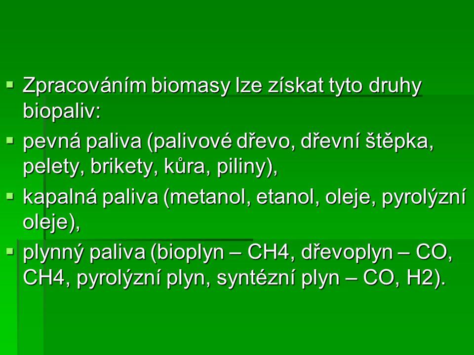  Zpracováním biomasy lze získat tyto druhy biopaliv:  pevná paliva (palivové dřevo, dřevní štěpka, pelety, brikety, kůra, piliny),  kapalná paliva