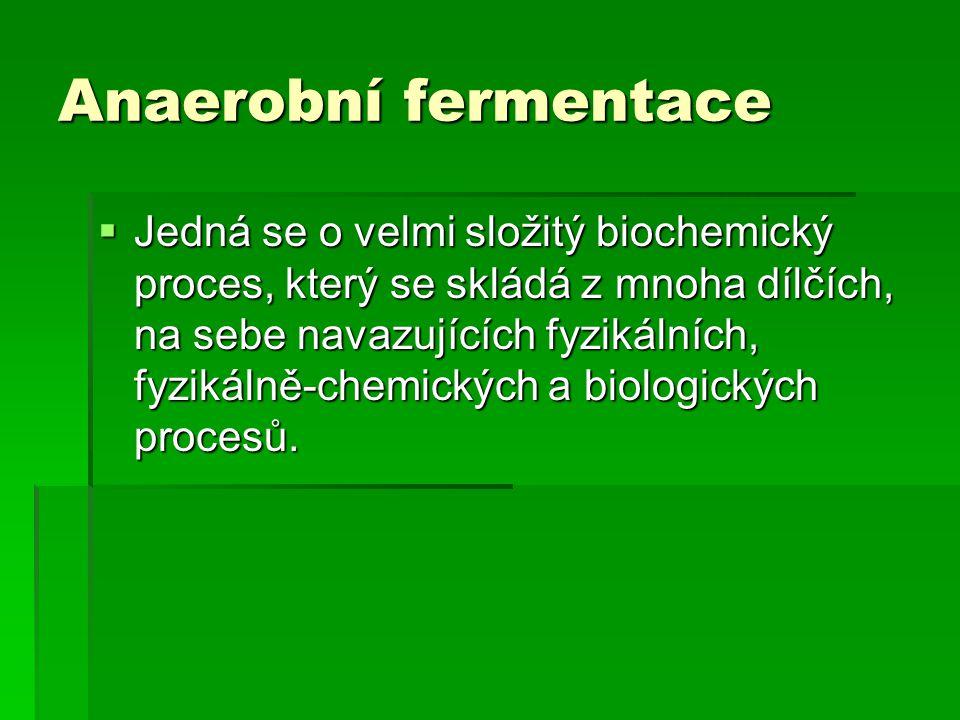 Anaerobní fermentace  Jedná se o velmi složitý biochemický proces, který se skládá z mnoha dílčích, na sebe navazujících fyzikálních, fyzikálně-chemi