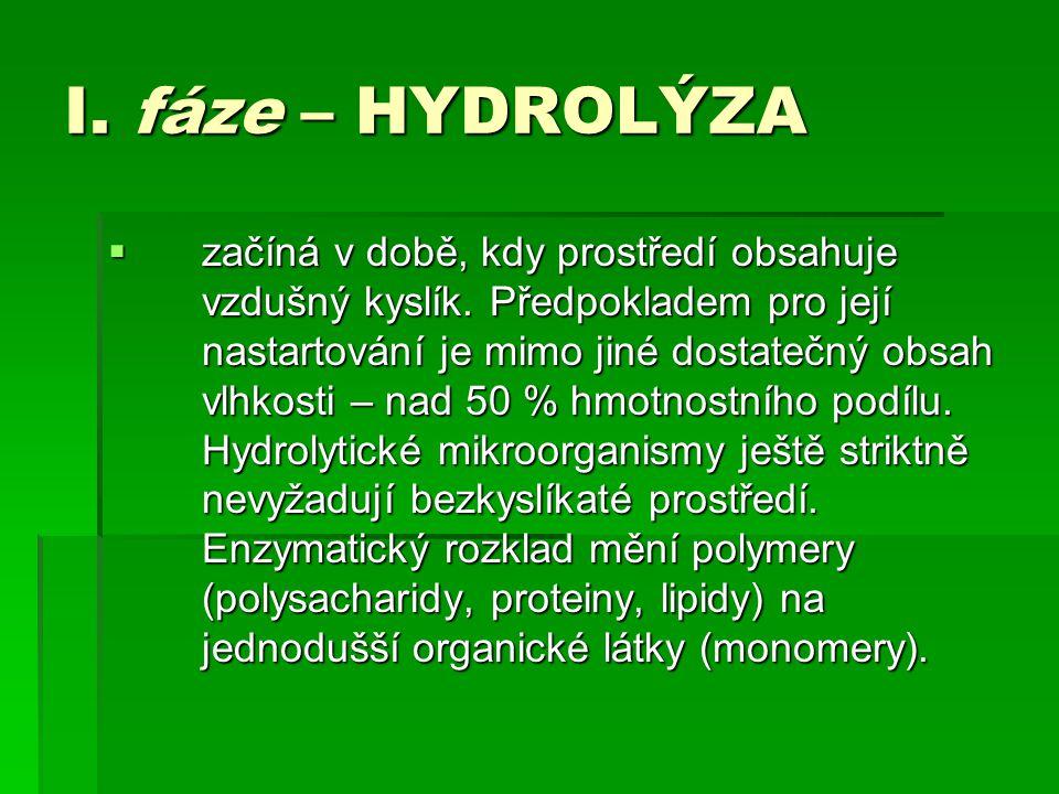 I. fáze – HYDROLÝZA  začíná v době, kdy prostředí obsahuje vzdušný kyslík. Předpokladem pro její nastartování je mimo jiné dostatečný obsah vlhkosti