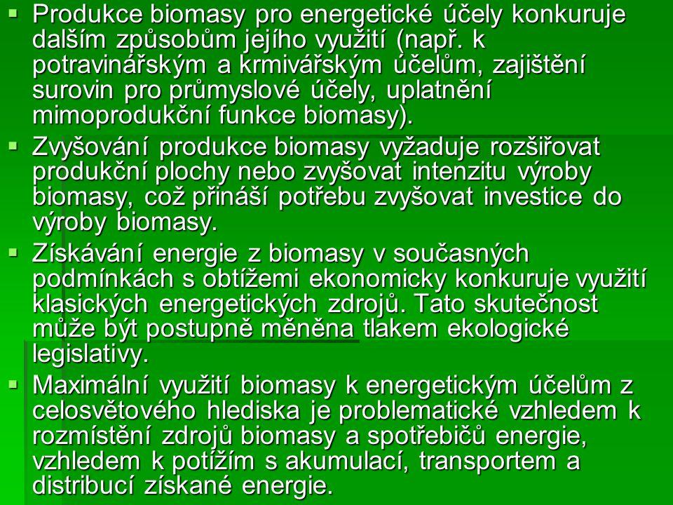  Na druhé straně existují nesporné výhody využití biomasy k energetickým účelům.