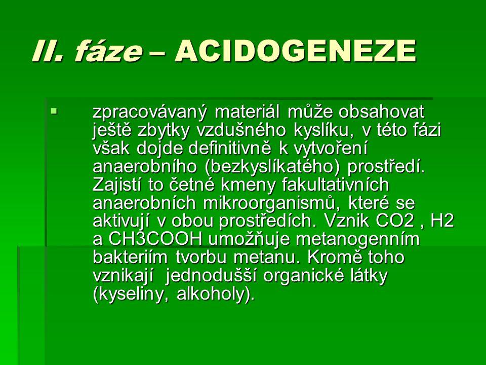 II. fáze – ACIDOGENEZE  zpracovávaný materiál může obsahovat ještě zbytky vzdušného kyslíku, v této fázi však dojde definitivně k vytvoření anaerobní