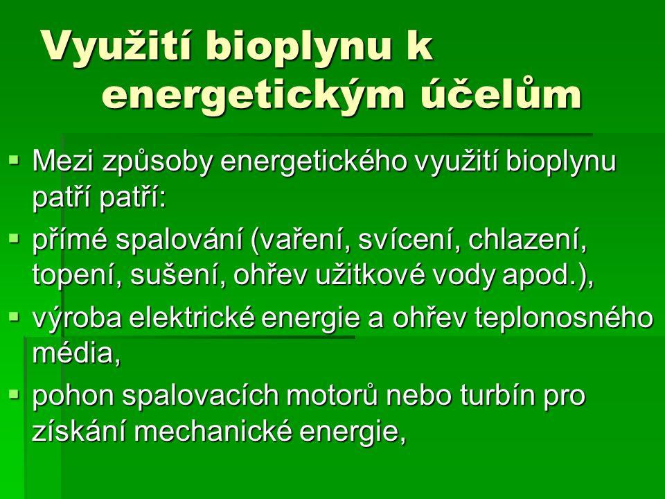 Využití bioplynu k energetickým účelům  Mezi způsoby energetického využití bioplynu patří patří:  přímé spalování (vaření, svícení, chlazení, topení