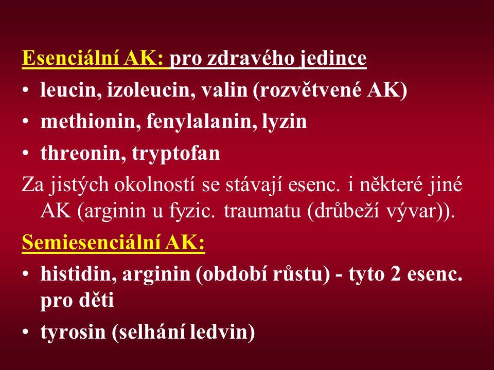 Esenciální AK: pro zdravého jedince leucin, izoleucin, valin (rozvětvené AK) methionin, fenylalanin, lyzin threonin, tryptofan Za jistých okolností se stávají esenc.