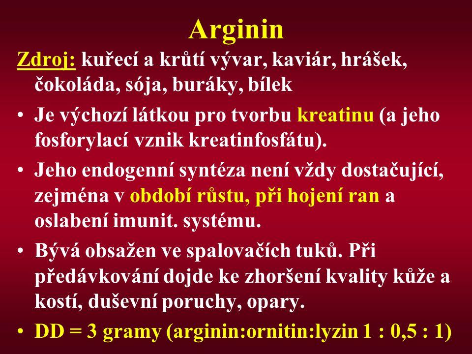 Arginin Zdroj: kuřecí a krůtí vývar, kaviár, hrášek, čokoláda, sója, buráky, bílek Je výchozí látkou pro tvorbu kreatinu (a jeho fosforylací vznik kreatinfosfátu).
