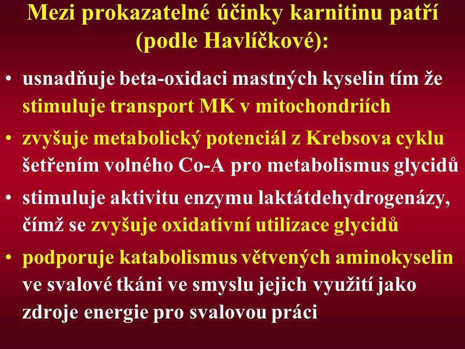 Mezi prokazatelné účinky karnitinu patří (podle Havlíčkové): usnadňuje beta-oxidaci mastných kyselin tím že stimuluje transport MK v mitochondriích zvyšuje metabolický potenciál z Krebsova cyklu šetřením volného Co-A pro metabolismus glycidů stimuluje aktivitu enzymu laktátdehydrogenázy, čímž se zvyšuje oxidativní utilizace glycidů podporuje katabolismus větvených aminokyselin ve svalové tkáni ve smyslu jejich využití jako zdroje energie pro svalovou práci