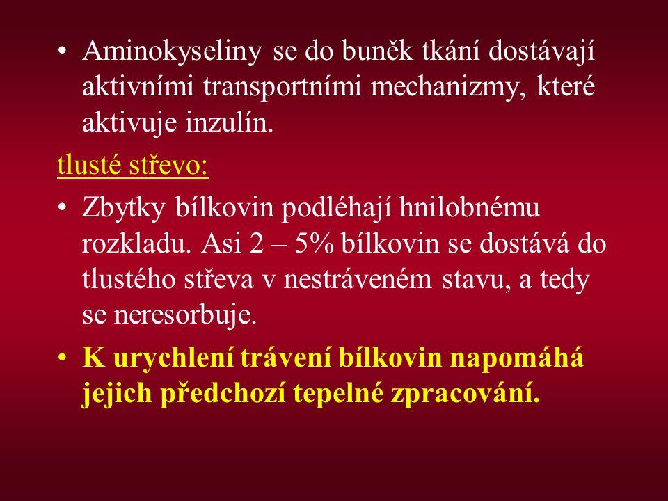 Aminokyseliny se do buněk tkání dostávají aktivními transportními mechanizmy, které aktivuje inzulín.