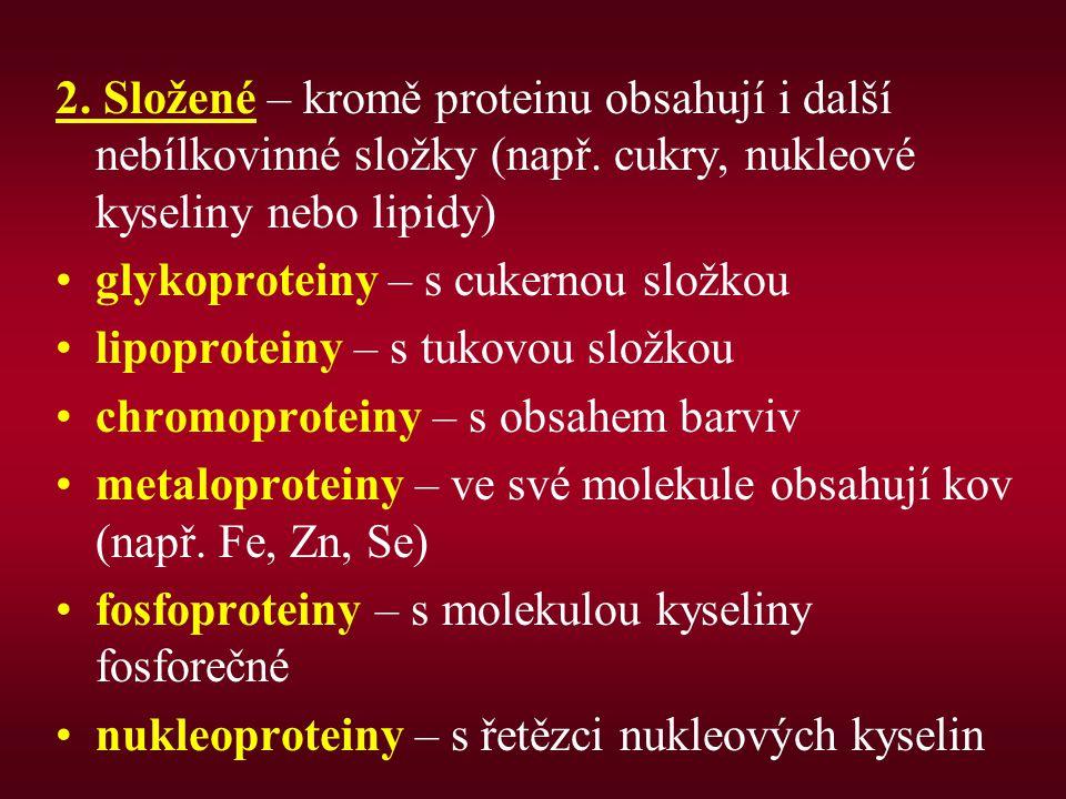 2.Složené – kromě proteinu obsahují i další nebílkovinné složky (např.