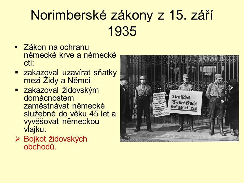 Norimberské zákony z 15. září 1935 Zákon na ochranu německé krve a německé cti:  zakazoval uzavírat sňatky mezi Židy a Němci  zakazoval židovským do
