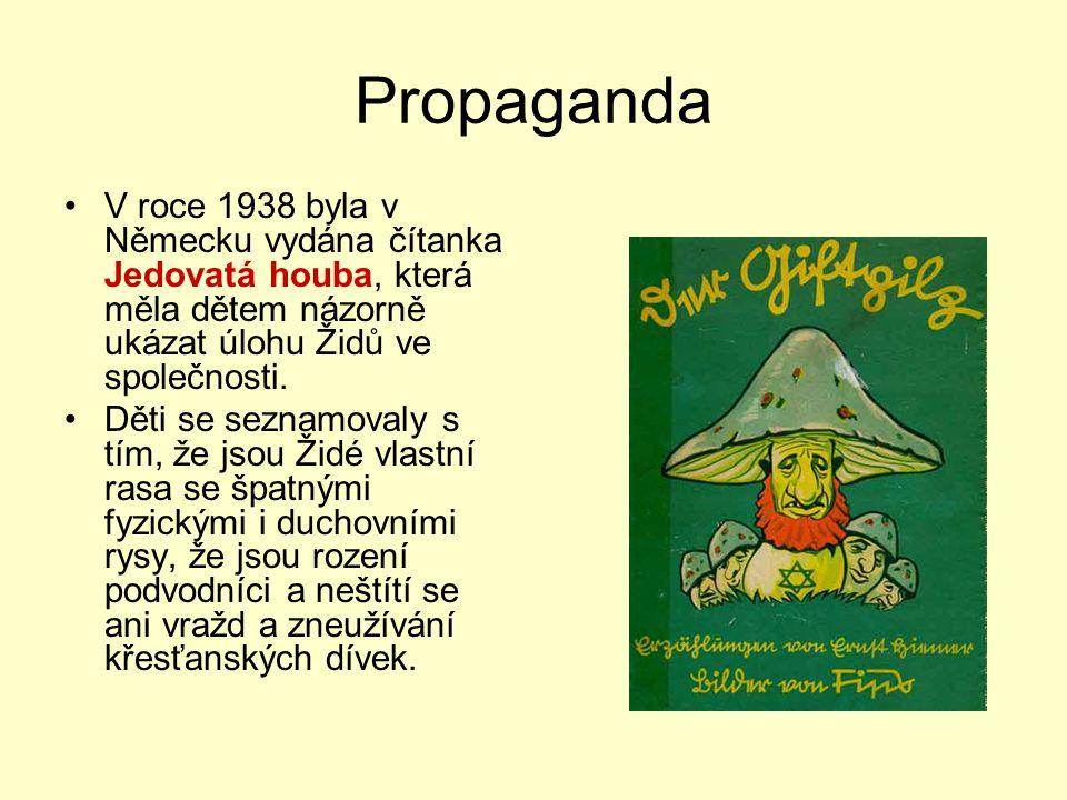 Propaganda V roce 1938 byla v Německu vydána čítanka Jedovatá houba, která měla dětem názorně ukázat úlohu Židů ve společnosti. Děti se seznamovaly s