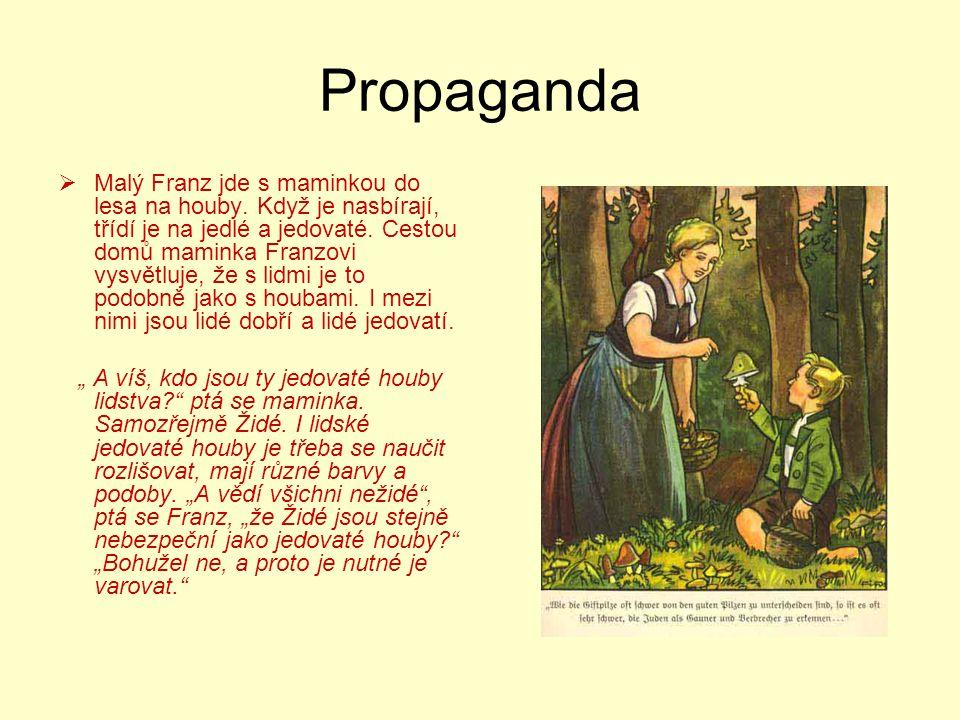 Propaganda  Malý Franz jde s maminkou do lesa na houby. Když je nasbírají, třídí je na jedlé a jedovaté. Cestou domů maminka Franzovi vysvětluje, že