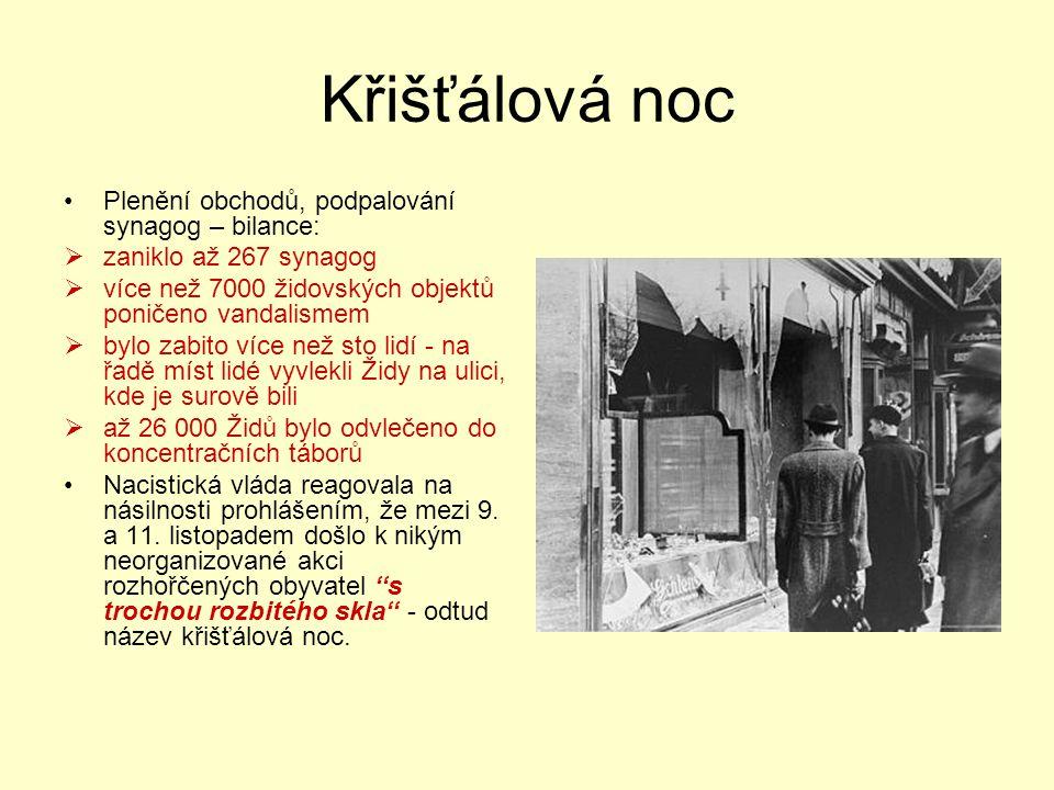 Křišťálová noc Plenění obchodů, podpalování synagog – bilance:  zaniklo až 267 synagog  více než 7000 židovských objektů poničeno vandalismem  bylo