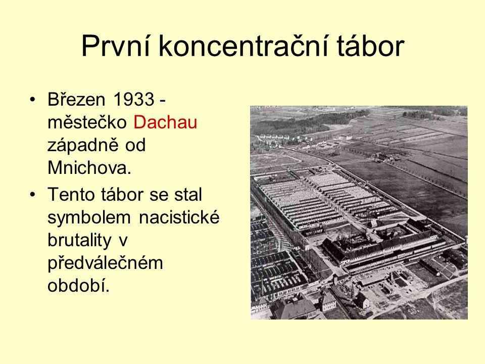 První koncentrační tábor Březen 1933 - městečko Dachau západně od Mnichova. Tento tábor se stal symbolem nacistické brutality v předválečném období.