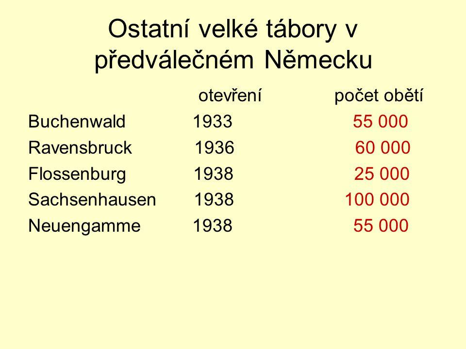Ostatní velké tábory v předválečném Německu otevření počet obětí Buchenwald 1933 55 000 Ravensbruck 1936 60 000 Flossenburg 1938 25 000 Sachsenhausen