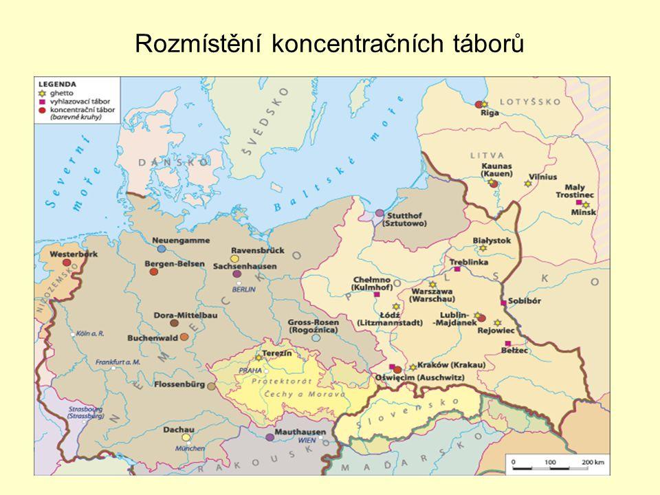 Rozmístění koncentračních táborů