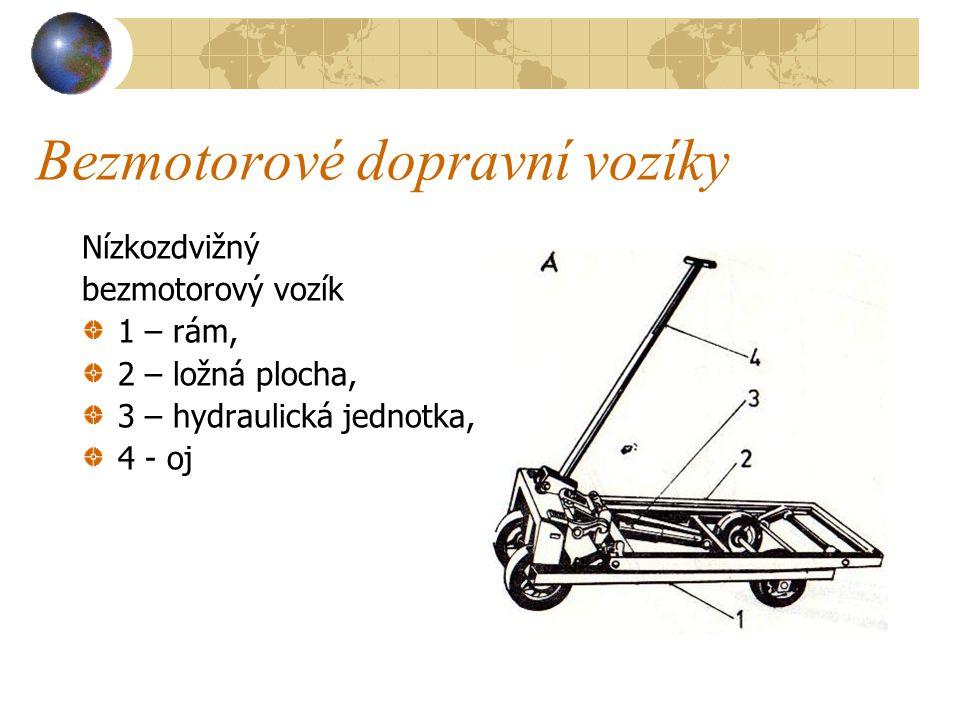 Bezmotorové dopravní vozíky a) Nízkozdvižný vozík ( viz obrázek na následující straně ) je opatřen zvedacím rámem s mechanickým zdvihem, umožňujícím m