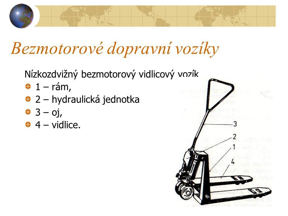 Bezmotorové dopravní vozíky b) Nízkozdvižný vidlicový vozík ( viz obrázek na následující straně ) má svařovaný vidlicový rám, hydraulickou hlavici zve
