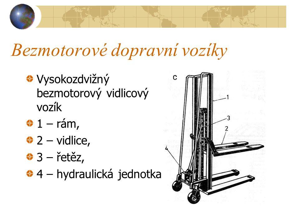 Bezmotorové dopravní vozíky c) Vysokozdvižný vidlicový vozík ( viz obrázek na následující straně ) má rám a zvedací vidlice pohybující se ve vodicím s